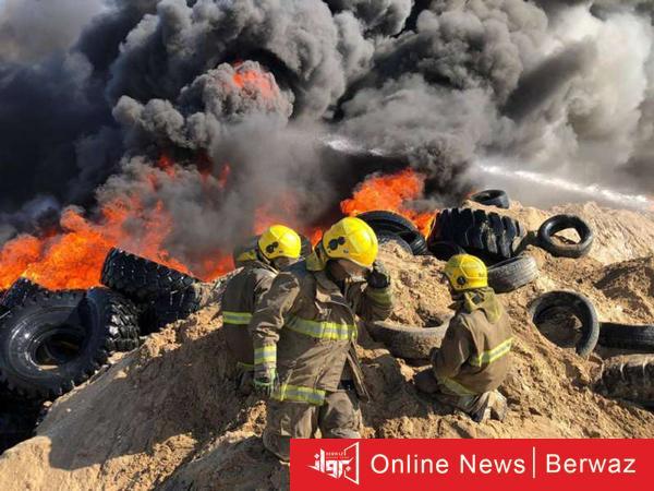 حريق الإطارات بمنطقة إرحية - الإطفاء الكويتية تعلن أن حريق الإطارات في الإرحية تم بطريقة متعمدة