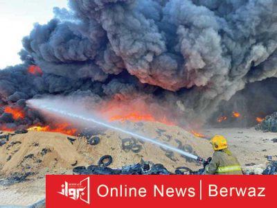 حريق الإطارات بمنطقة إرحية2 400x300 - الإطفاء الكويتية تعلن أن حريق الإطارات في الإرحية تم بطريقة متعمدة