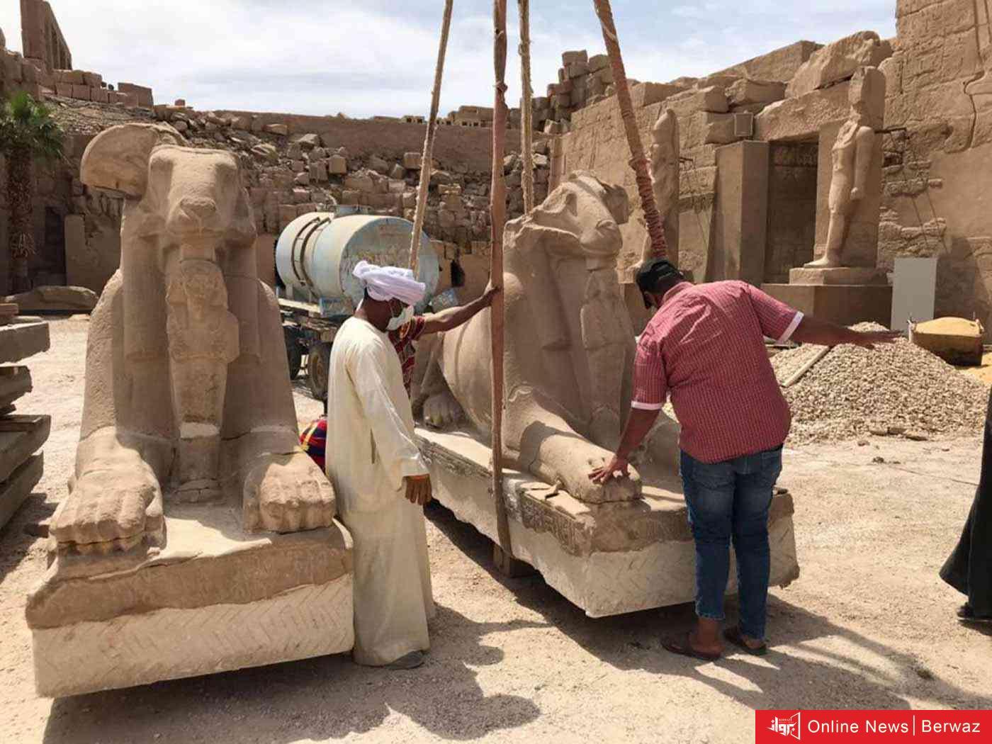 image - الآثار المصرية تعلن نجاح عملية ترميم وإنقاذ 29 تمثالا أثريا في مدينة الأقصر