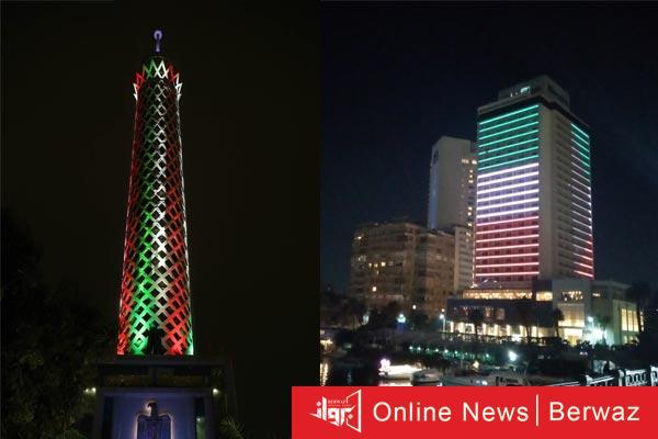 برج القاهرة - علم الكويت يزين برج القاهرة ضمن الإحتفالات المصرية بالأعياد الوطنية