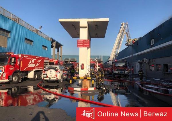 فرق الإطفاء - فرق الإطفاء تسيطر على حريق بمصنع للمرطبات بمنطقة صبحان