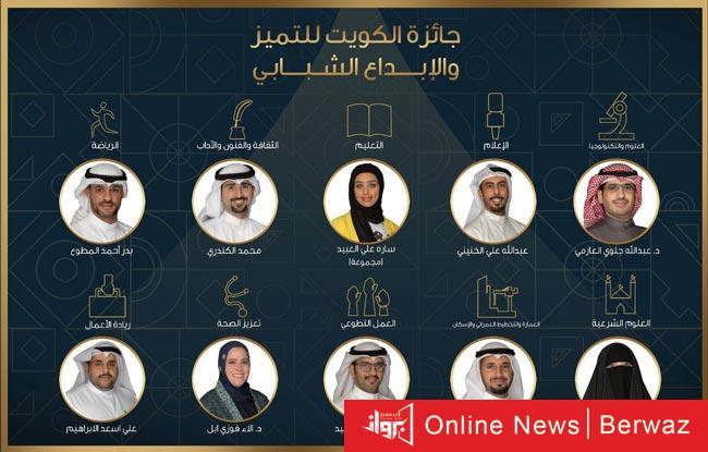جائزة الكويت للتميز - إعلان أسماء الفائزين بجائزة الكويت للتميز والإبداع الشبابى