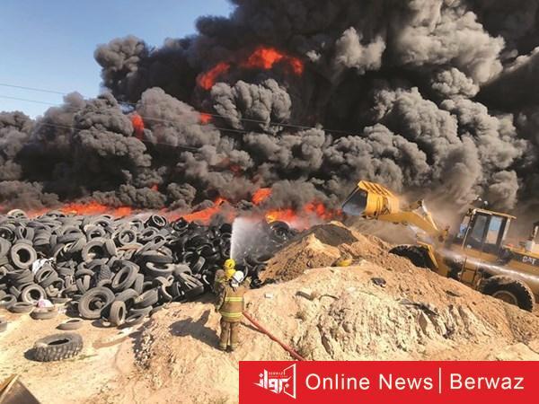 cats 10 - قوة الإطفاء تحاول السيطرة على حريق إطارات ضخم بمنطقة ارحية