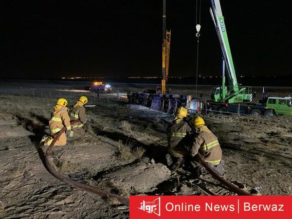 1040865 1 - الإطفاء تسيطر على حادث إنقلاب صهريج نقل وقود على طريق المطار