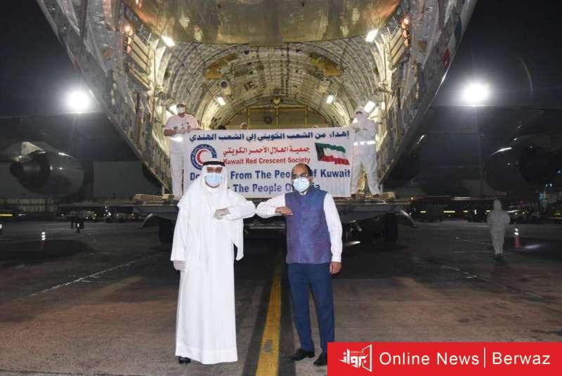 948384 - هبوط أول طائرة مساعدات كويتية إلى الأراضي الهندية محملة بـ 40 طنا من المساعدات العاجلة