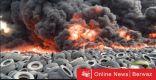 فيديو – فرق الإطفاء تسيطر على حريق إطارات في السالمي
