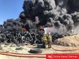 «الإطفاء» تعلن إخماد حريق إطارات ارحية
