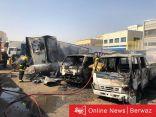 إخماد حريق نشب في قاطرة ومقطورة بالشويخ