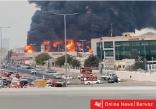 حريق ضخم بأحد الأسواق الصناعية في عجمان بدولة الإمارات